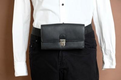 Portefeuille leder 7 vakken met riem en drukslot