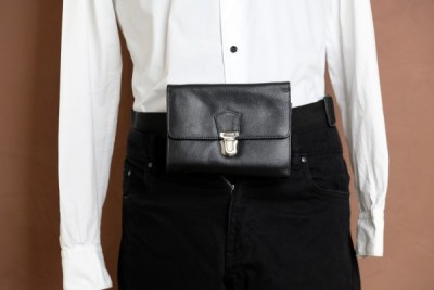 Portefeuille leder 6 vakken met riem en drukslot