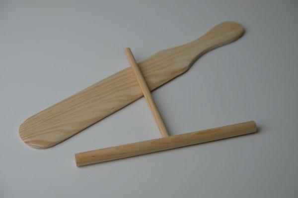 Pannekoek spatel en verdeler in hout