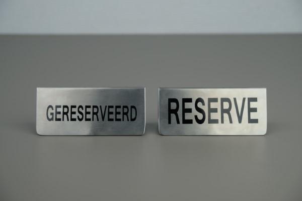 """Tafelstandaard inox """"gereserveerd/reserve"""""""