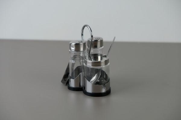 Menagere zout/peper/mosterd met servethouder